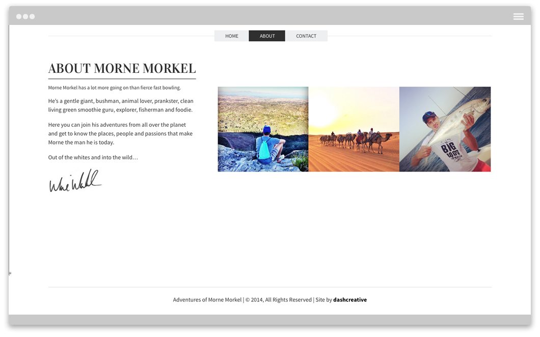 The Adventures of Morne Morkel Website Design