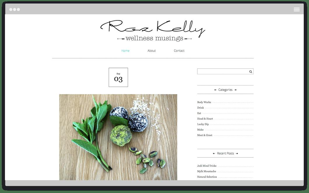 Roz Kelly Wellness Musings - Website Design