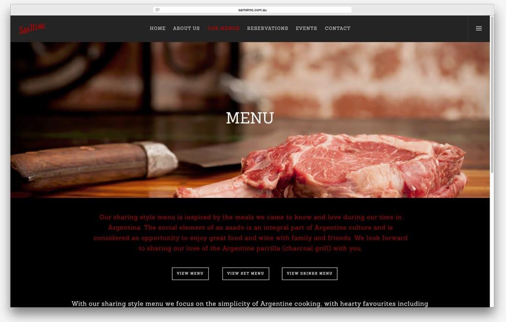 San Telmo Steakhouse Restaurant - Website Design