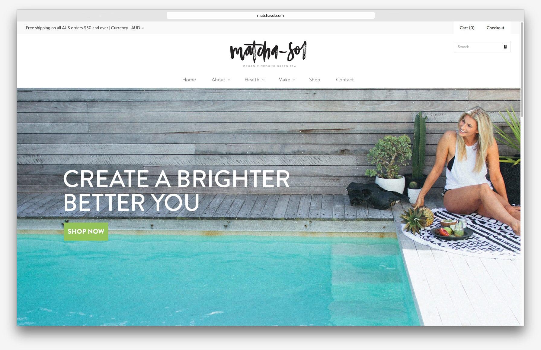 Matcha Sol Organic Green Tea - Website design