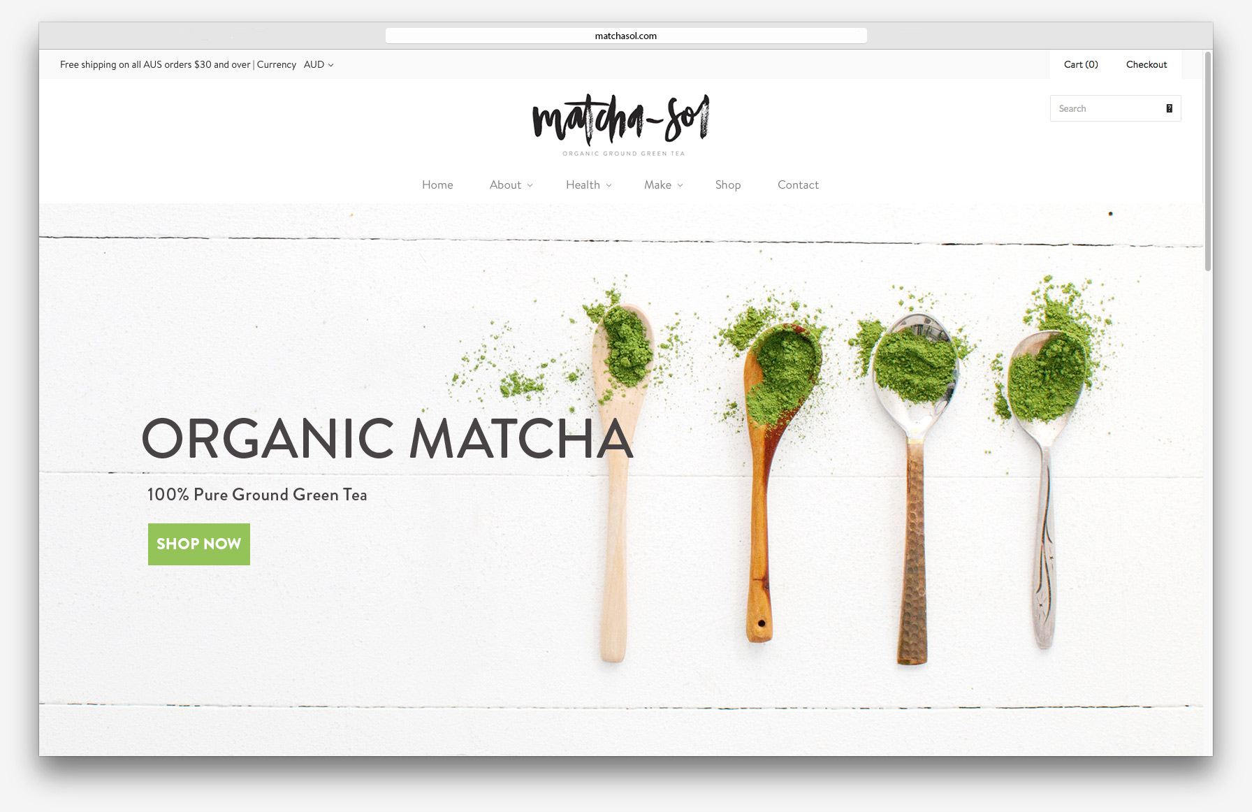 Matcha Sol Organic Green Tea - Website design