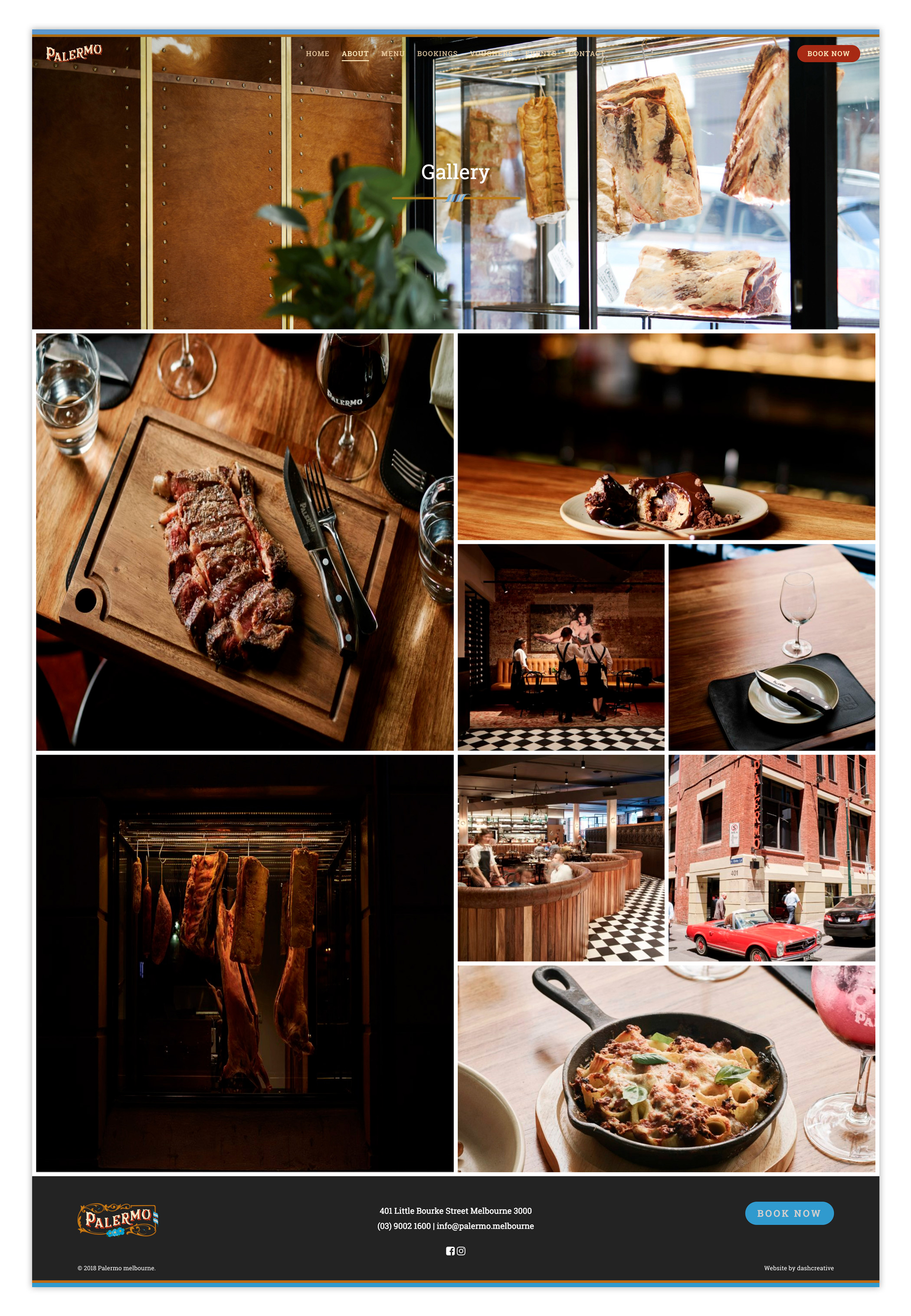 Palermo Steakhouse & Argentinian Restaurant website design