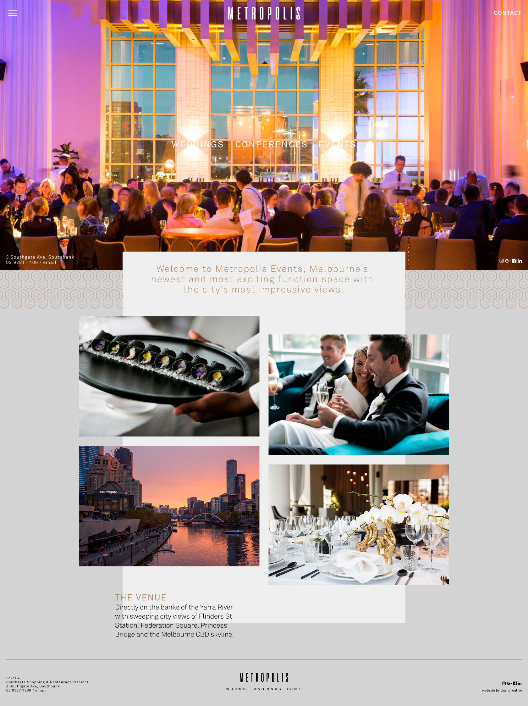 Metropolis Events - Website Design