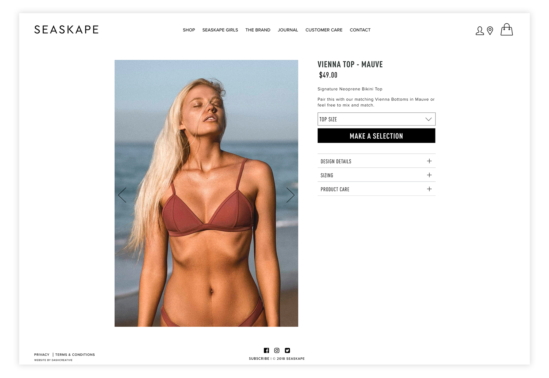 Seaskape Swimwear - Identity and Website Design